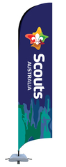 NEW LOGO Bow Banner 3.5m Inc Metal Base and Weight Bag
