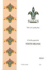 Youth Helper Certificate