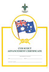 Cub Scout Advancement Certificate - OUT OF STOCK